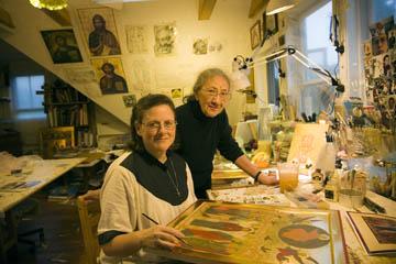 Sister Faith Riccio (seated) and Ksenia Pokrovsky, MCC Apprenticeship grantees, 2003. Photo by Billy Howard.