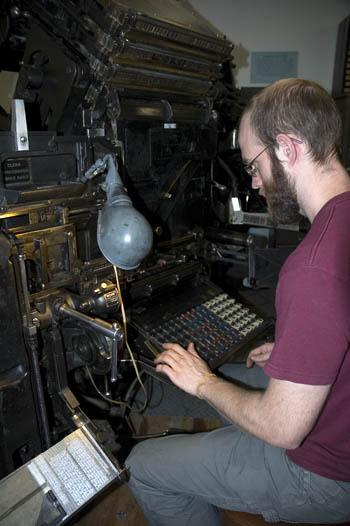 Jesse Marsolais at the Linotype.