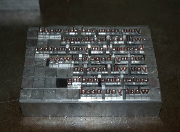 Metal type that has been inked at Firefly Press.