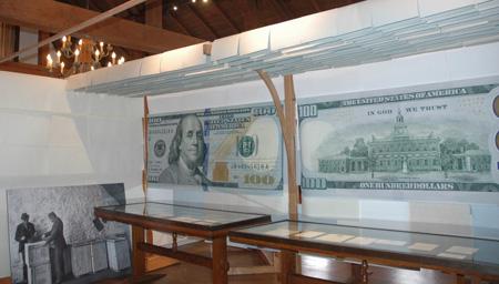 Exhibit cases at Crane Papermaking Museum