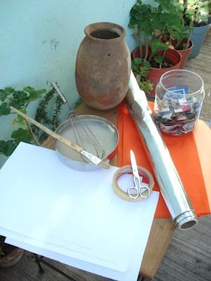 Supplies for making clay pot pinata