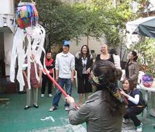Breaking pinata in Mexico City