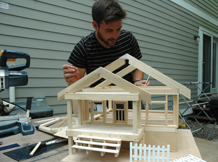 """Russell Call working on 1/2"""" scale model2"""