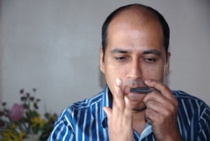 Sushil playing the jaw harp
