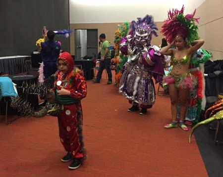 Asociacion Carnavalesca members in their green room