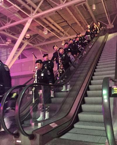 Gaelic Column coming down the escalator