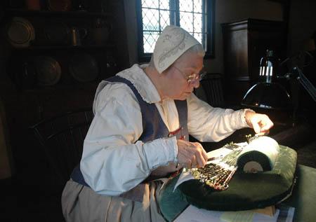 Linda working on bobbin lace