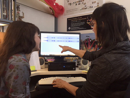 Maggie and Tati  working on a sound file. Photo by Artsake