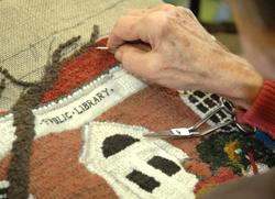 Rug hooking detail