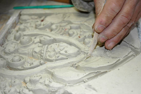 Yary carving in clay