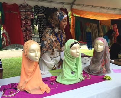 Qamaria Amatal-Wadud with examples of her Islamic hijab and abaya