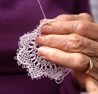 Alma Boghosian making Armenian needle lace