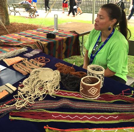 Elizabeth James Perry with Wampanoag weavings