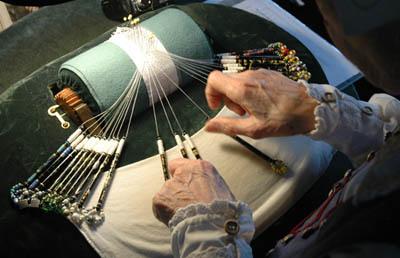 Linda Lane making bobbin lace