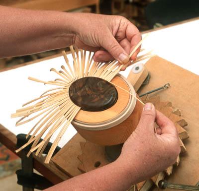 Karol Lindquist making a Nantucket lightship basket