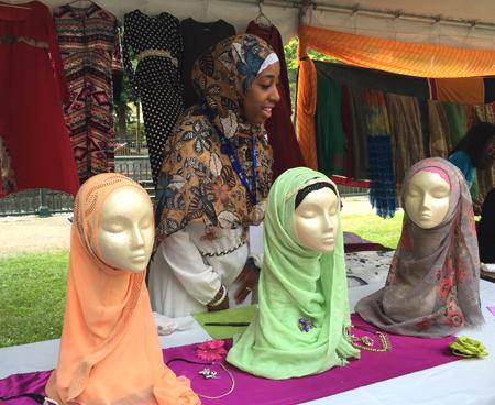 Qamaria Amatal-Wadud with her hijabs