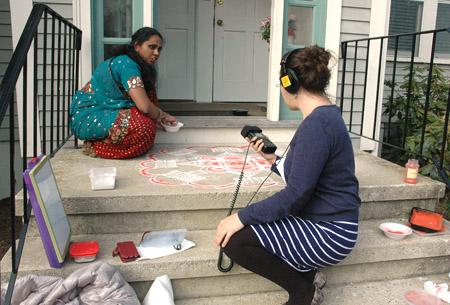 Nora interviewing Priya about kolam
